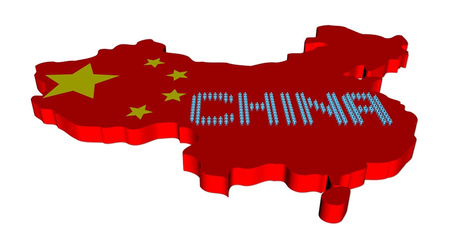 Abstract people on China map flag illustration